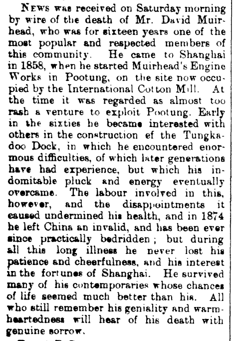 1898.03.07 Obituary for David Muirhead. North China Herald