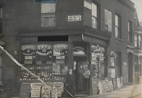 Mr and Mrs Crick. Outside their recently purchased shop. The photo was  taken in March 1912.